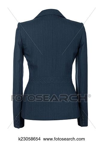 drawings of blank female blue business suit on isolated white
