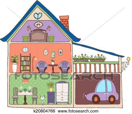 Clip art casa interno disegno e decorazione k20804766 for Disegno casa interno