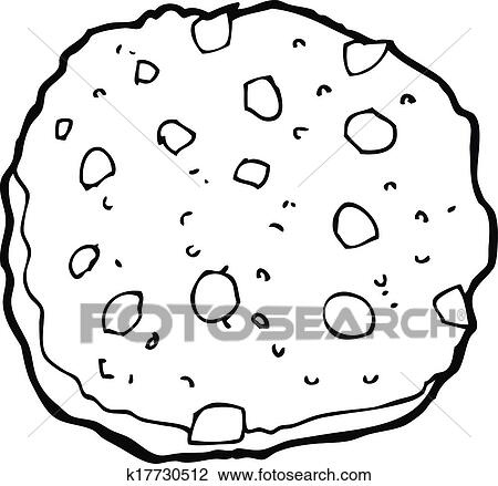 Clipart Of Chocolate Chip Cookie Cartoon K17730512