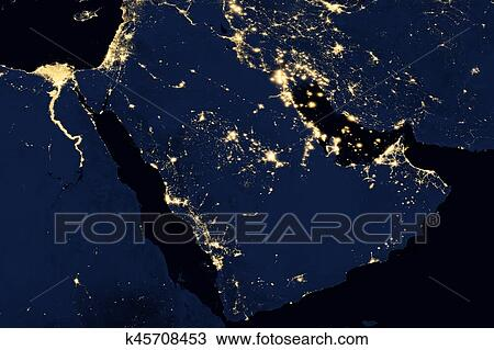 Drawing of city lights on world map arabian peninsula k45708453 city lights on world map arabian peninsula elements of this image are furnished by nasa gumiabroncs Image collections