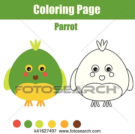 Clip Art Of Coloring Page With Parrot Educational Children Game
