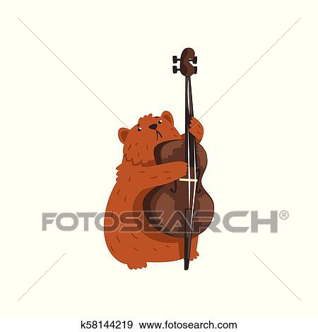 Cute Hamster Playing Cello Cartoon Animal Character With Musical Instrument Vector Illustration On A White Background Clip Art