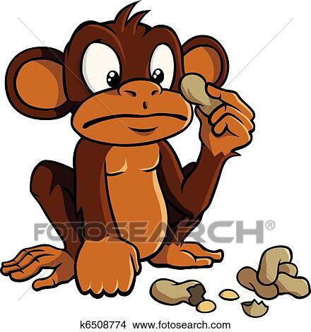 Dessin Animé Singe à Cacahuètes Clipart
