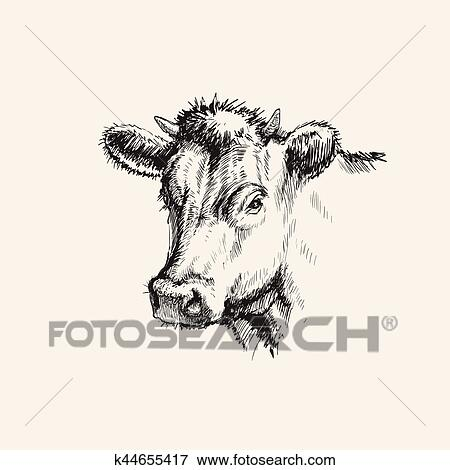 Hand Drawn Sketch Cow Vector illustration Clip Art