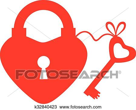 Clipart Of Heart Lock And Key Icon K32840423 Search Clip Art