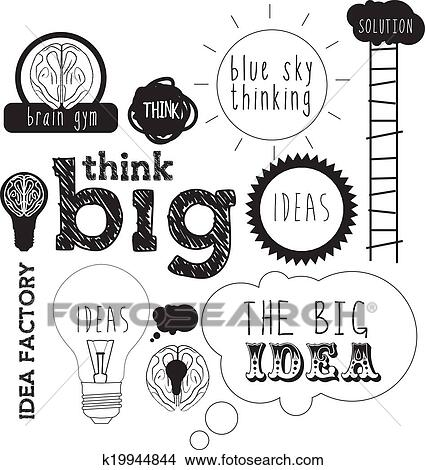 Drawings Of Ideas Handdrawn Or Lettering For Idea And Innovation