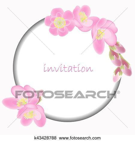 Banque D Illustrations Invitation Carte A Fleur Sakura Fleurs