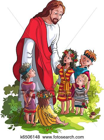 Jesus With Children Clip Art | k6506148 | Fotosearch