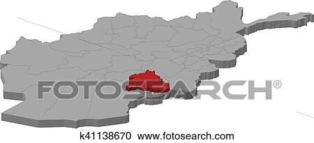 Clipart Of Map Afghanistan Zabul 3d Illustration K41138670