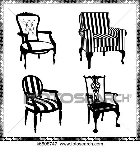 Clip Art - Set of antique chairs silhouettes. Fotosearch - Search Clipart,  Illustration Posters - Clip Art Of Set Of Antique Chairs Silhouettes K6508747 - Search