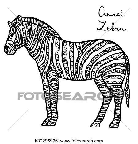 Stilisiert Vektor Zebra Zentangle Freigestellt Weiß