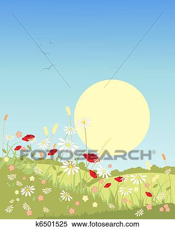Summer landscape Clipart | k6501525 | Fotosearch
