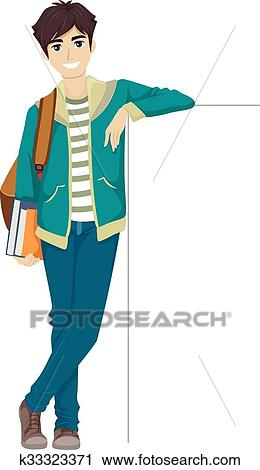 clipart of teen guy college student lean board k33323371 search rh fotosearch com college education clipart college student clipart free