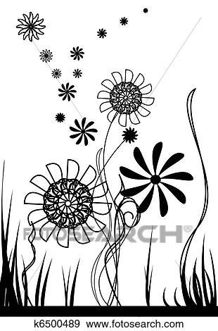 Clip Art - vektor, blumen, schwarz weiß k6500489 - Suche Clipart ...