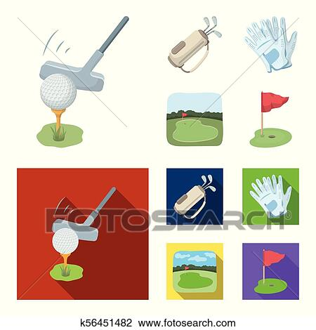 A Ball With A Golf Club A Bag With Sticks Gloves A Golf Course Golf Club Set Collection Icons In Cartoon Flat Style Vector Symbol Stock Illustration Web Clipart K56451482 Fotosearch