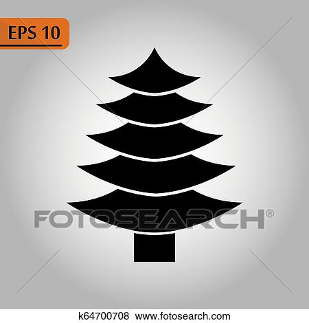 Black Christmas Tree Icon On White Silhouette Flat Icon Symbol Of Fir Tree For Illustration Christmas New Year Christmas Tree Bazaar And Fair Clip
