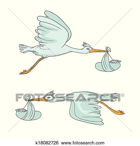 clipart dois cegonha voando com crianças k18082726 busca de