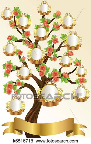 Clip Art Of Family Tree Template K6516718 Search Clipart