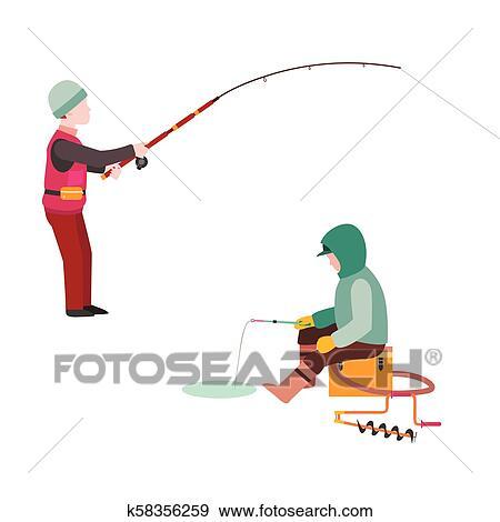River Fishing Clip Art