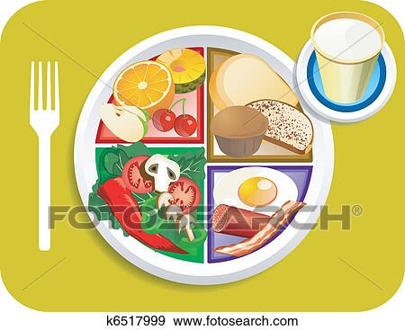 clip art of food my plate breakfast portions k6517999 search rh fotosearch com  breakfast food clipart black and white