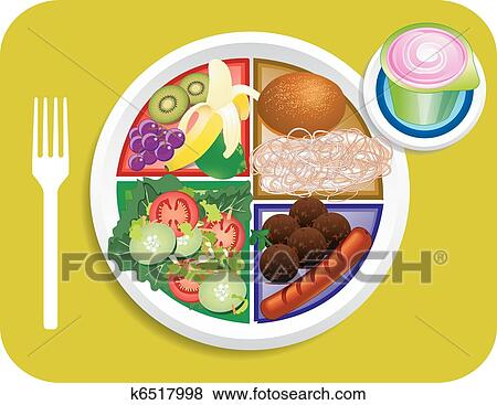 clip art of food my plate lunch portions k6517998 search clipart rh fotosearch com plate full of food clipart hot plate of food clipart