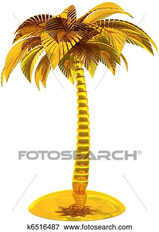 stock illustration of golden palm tree island stylized