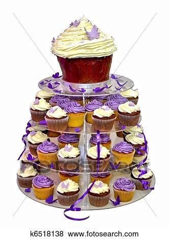 Hochzeit Kuchen Buntes Cupcakes Freigestellt Weiss Stock Foto
