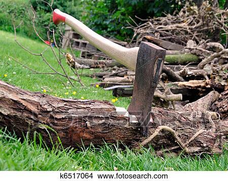 Beliebt Bevorzugt Holz, schneiden, -, axt, gesteckt, in, a, baum, anmelden, gras #VZ_83