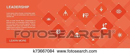 Leadership Banner 10 Icons Concept Responsibility Motivation Communication Teamwork Icons Clipart K73667084 Fotosearch