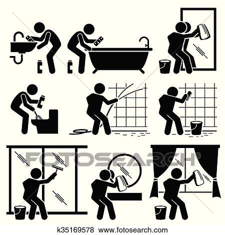 Mann, putzen, badezimmer, toilette, fenster Clip Art