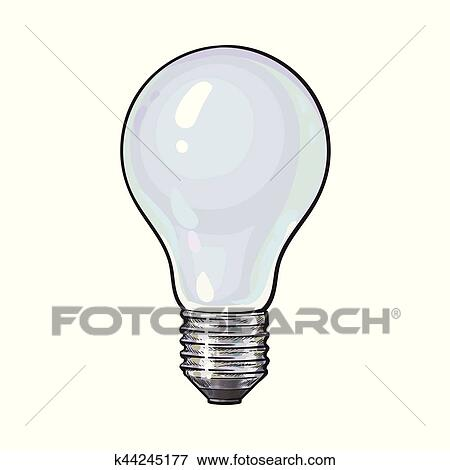 Clip Art   Matted, Opaque Tungsten Light Bulb, Side View, Sketch Vector  Illustration