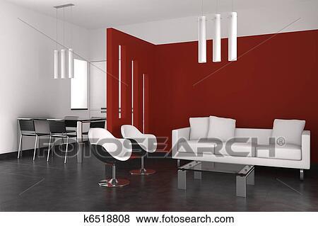 Moderno, interno, con, soggiorno, sala da pranzo, e, cucina Archivio  Illustrazioni