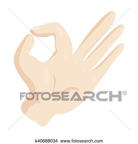 Clipart Of Ok Hand Sign Icon Cartoon Style K40688034 Search Clip