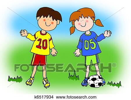 Ragazzo ragazza cartone animato giocatore calcio archivio