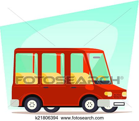 Clipart Of Retro Cartoon Car Family Travel Van Icon Modern Design