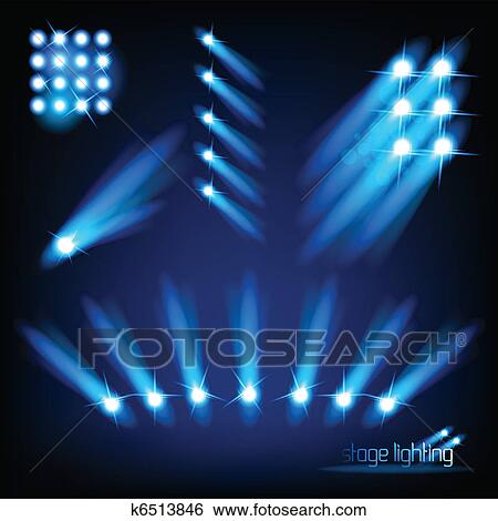 A Collection Of Vector Stage Lights Illustration