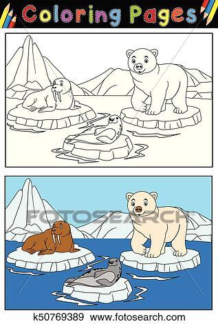 Clip Art - ártico, animales, para, libro colorear k50769389 - Buscar ...
