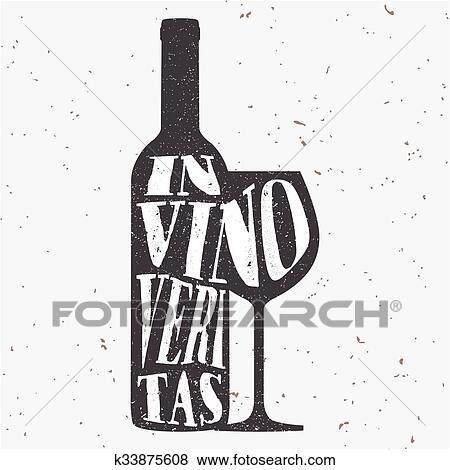 Branché, style, hipster, vecteur, illustration, typographique, affiche, à, bouteille vin, et, a, verre, silhouette, et, quote., dans, vino, veritas.,