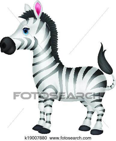 Carino zebra cartone animato clipart k19007880 fotosearch