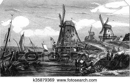 stock illustration of dutch landscape by flers vintage engraving