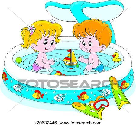 Clipart enfants dans a gosses piscine k20632446 - Clipart piscine ...