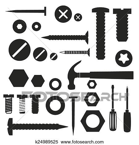 Clipart Of Hardware Screws And Nails With Tools Symbols Eps10