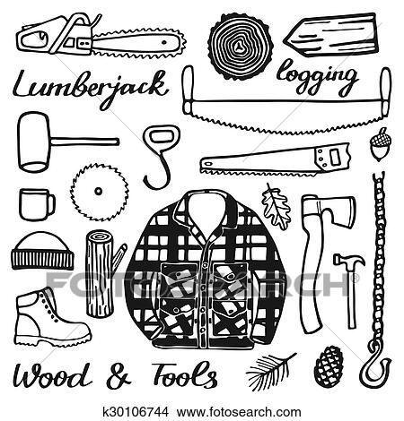 Clipart Of Lumberjack Set Wood And Tools Hand Drawn Cartoon