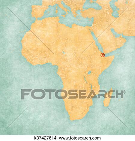 Map Of Africa Djibouti.Map Of Africa Djibouti Stock Illustration