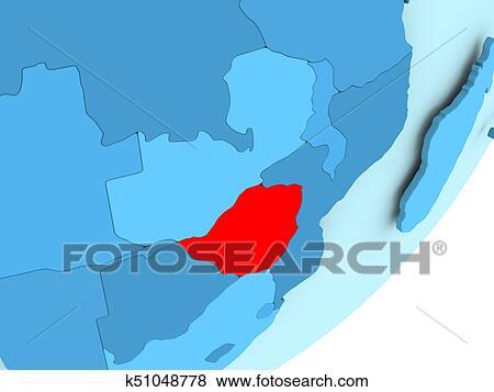 Map of Zimbabwe on blue political globe Stock Illustration k51048778