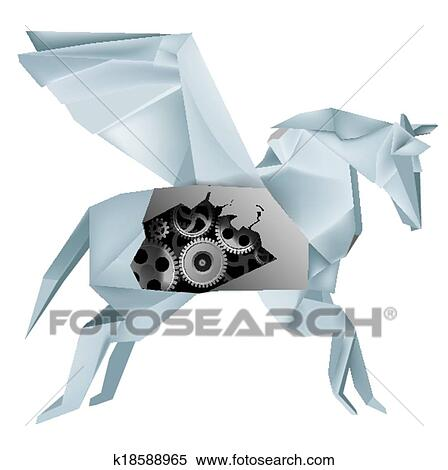 Clipart Of Mechanical Origami Pegasus K18588965 Search Clip Art
