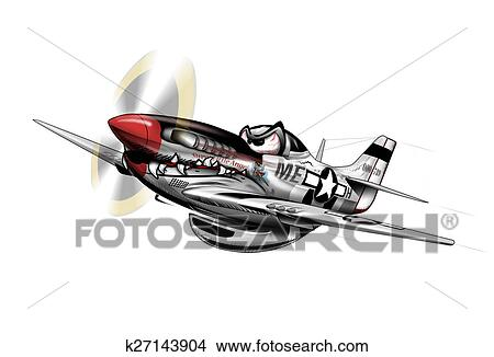 P 51 mustang wwii aeroplano cartone animato archivio