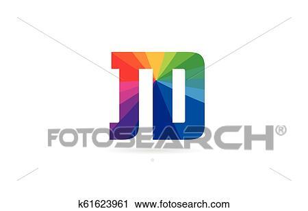 rainbow colored alphabet combination letter jd j d logo design clipart k61623961 fotosearch fotosearch