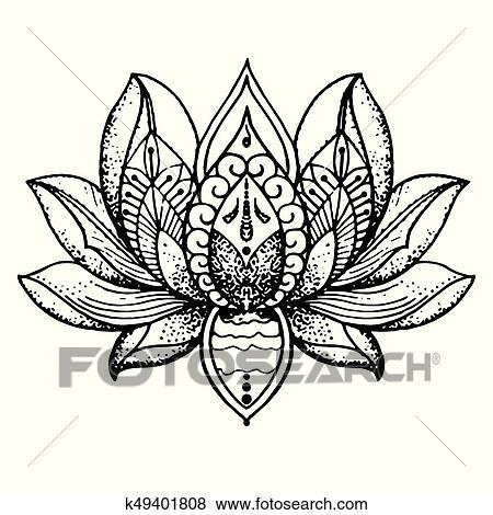Tatuaje Loto Meditación Clip Art K49401808