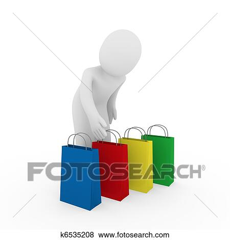 ccdfc0ac6c1 Stock Illustration - 3d man sale bag shopping . Fotosearch - Search EPS  Clip Art,